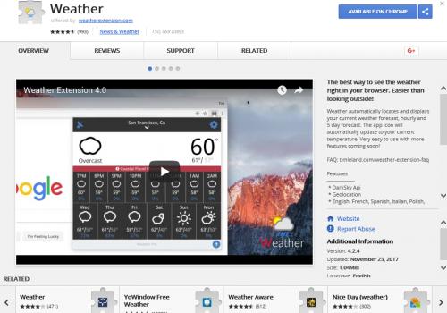 Удаление Weather For Chrome Ads