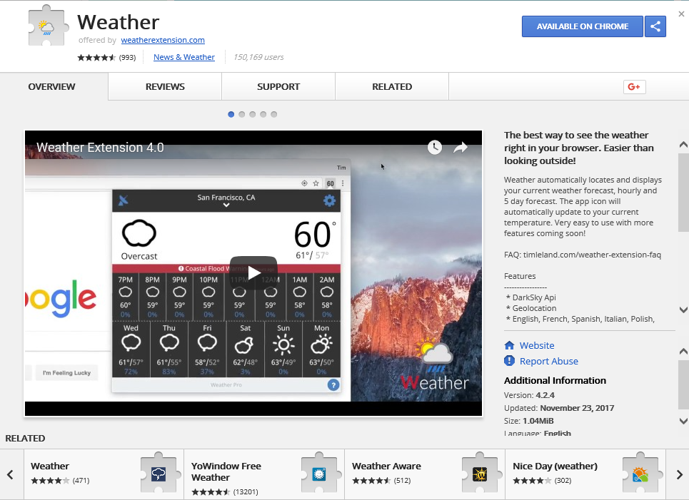 Poista Weather For Chrome Ads