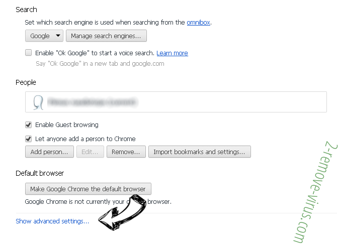 Adamant Search Chrome settings more