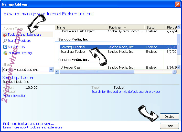 Search.searchbind.net virus IE toolbars and extensions