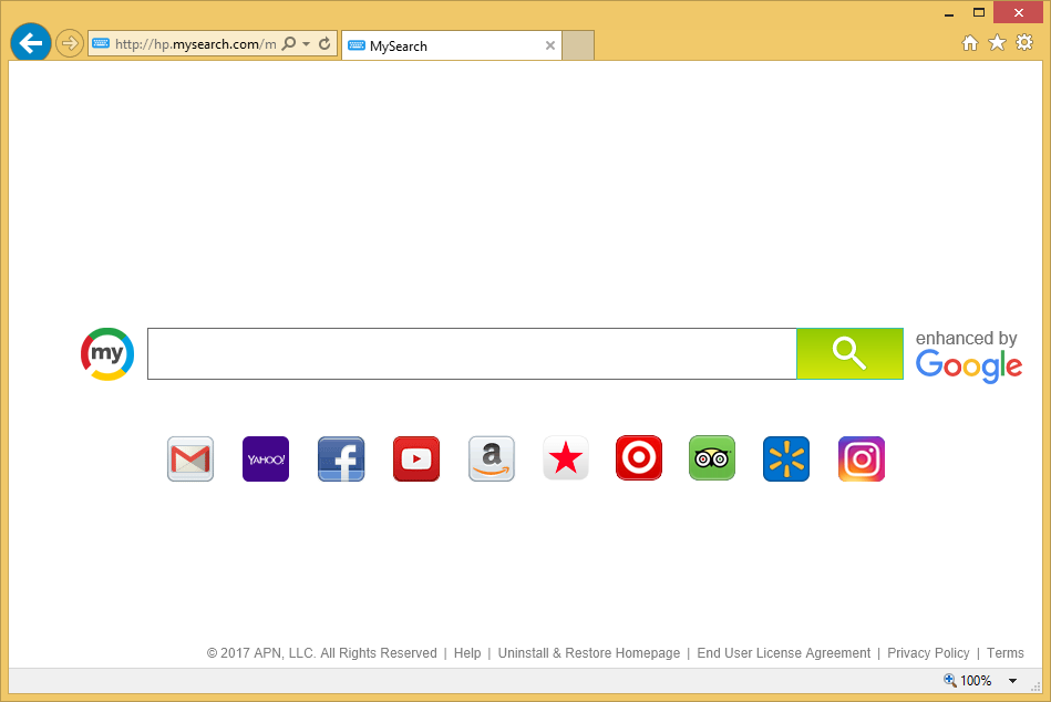 Odstranit Hp.MySearch.com od Chrome, Firefox & aplikaci Internet Explorer