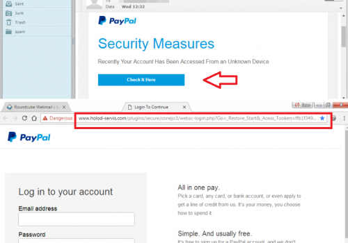 آخر محاولة التصيد في محاولة للحصول على معلومات المستخدم PayPal