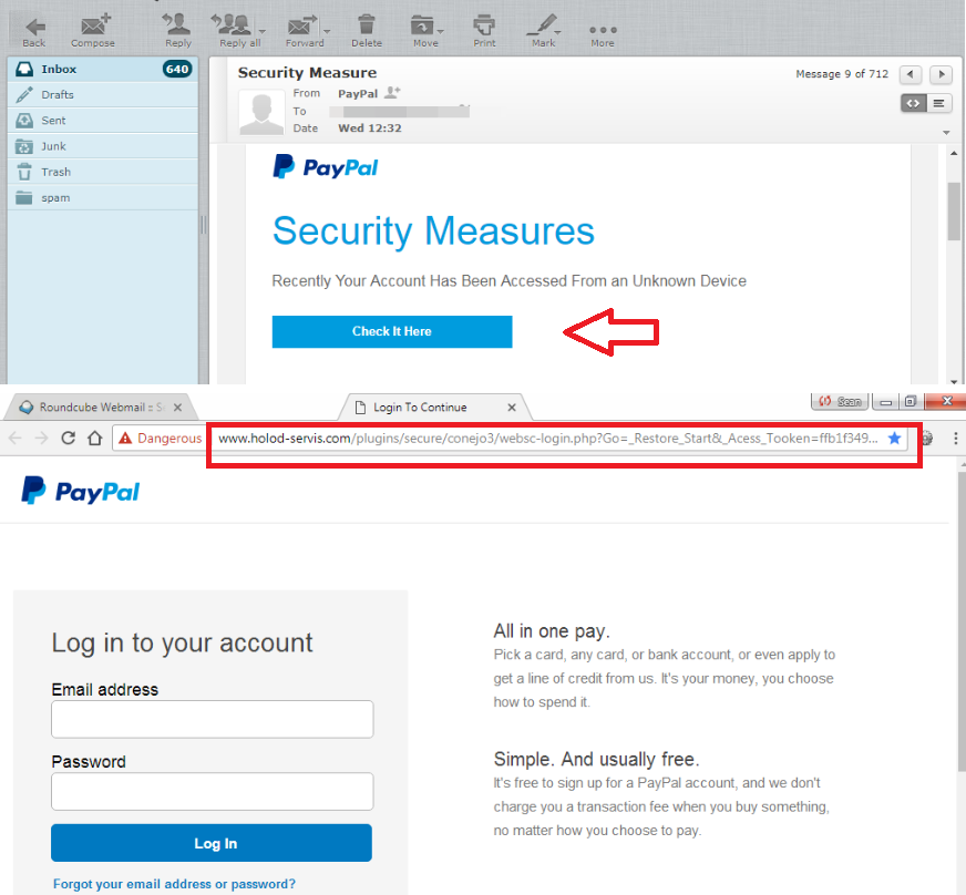 Anothe phishing attempt trying to get user PayPal info