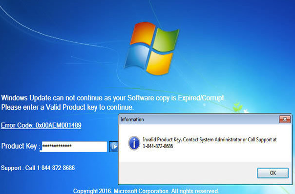 Fjerne Windows Product Key Expired Scam