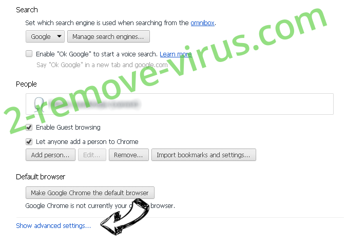 Jav123 virus Chrome settings more