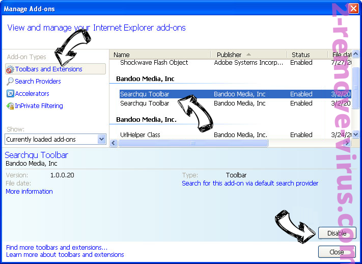 Jav123 virus IE toolbars and extensions