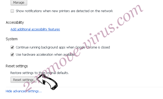 Trovi Search Virus Chrome advanced menu