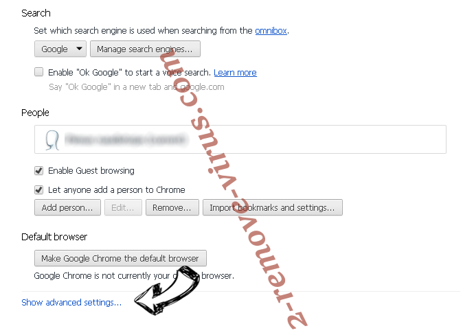 Trovi Search Virus Chrome settings more