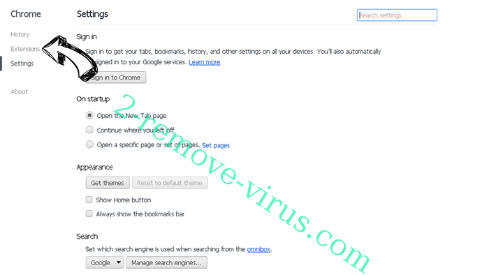 Trovi Search Virus Chrome settings