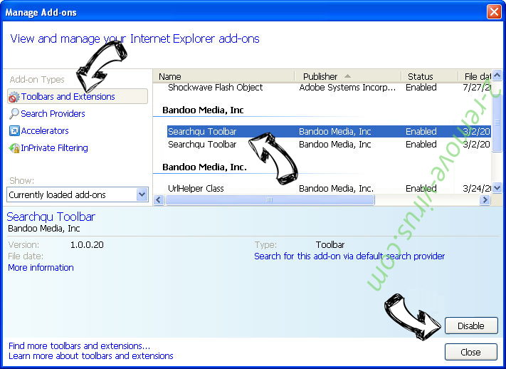 Trovi Search Virus IE toolbars and extensions