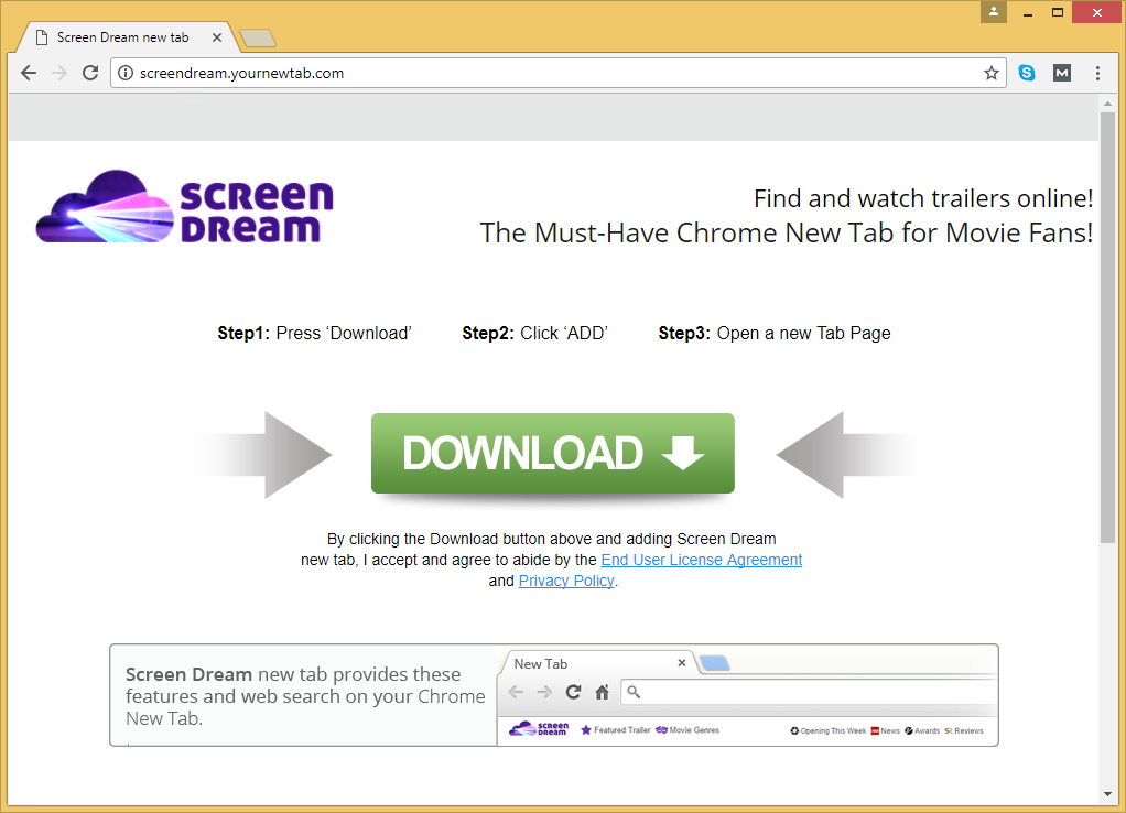 Menghapus ScreenDream.YourNewTab.com