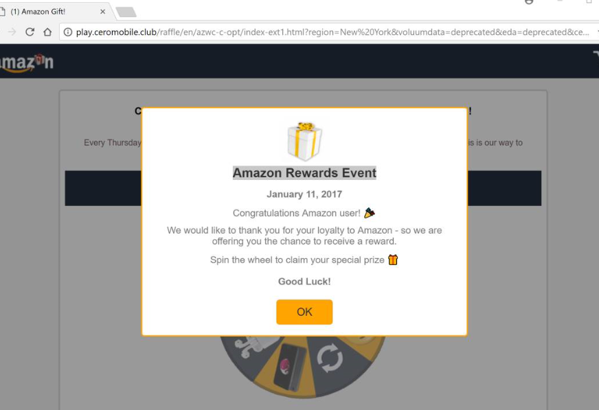 Suppression de Amazon Rewards Event Scam