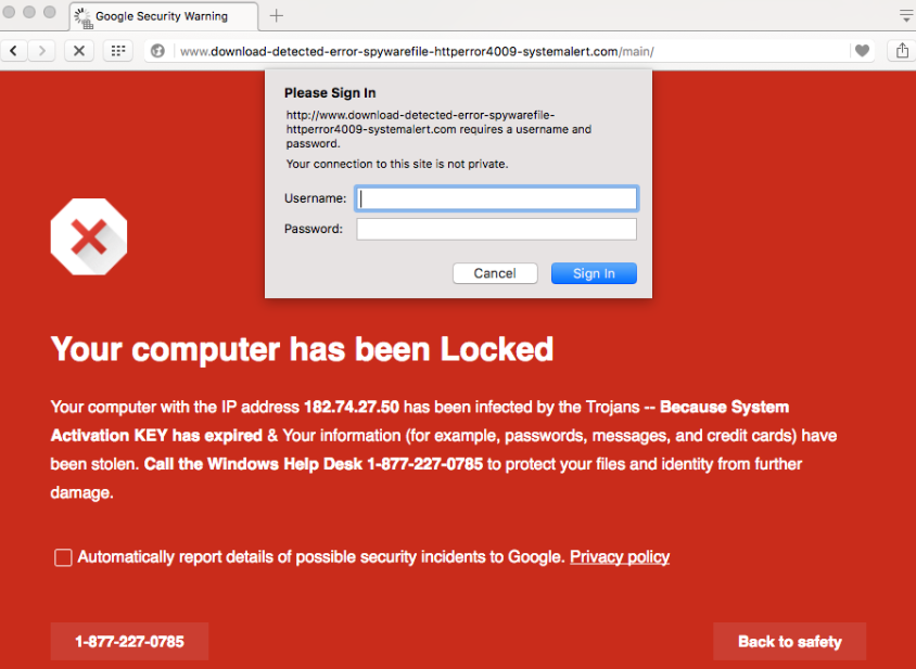Chrome Security Warning Scam rimozione