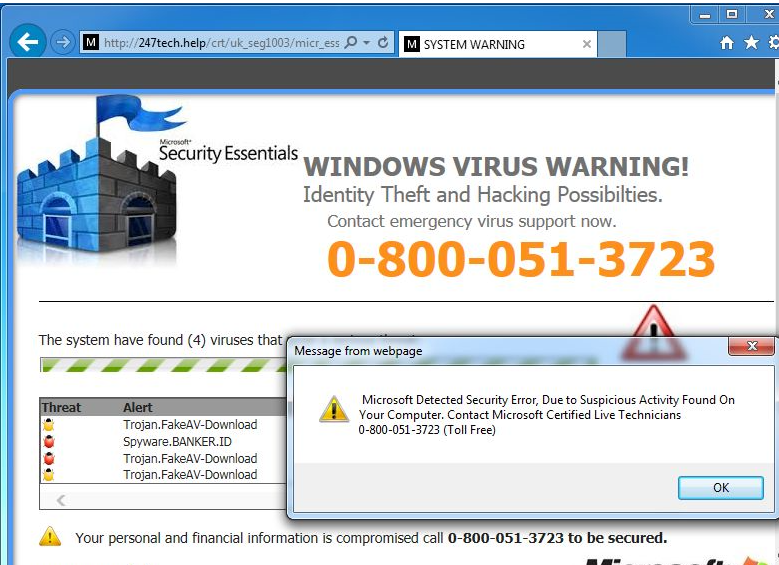 Tech Support Scam virus retiro