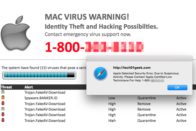 Apple Warning Virus Detected virus