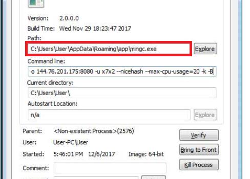 Fjerne CPU Miner Virus