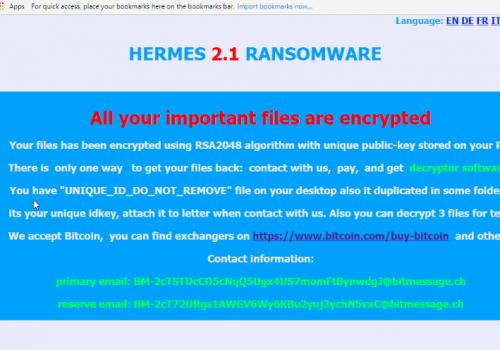 Remove Hermes 2.1 ransomware virus