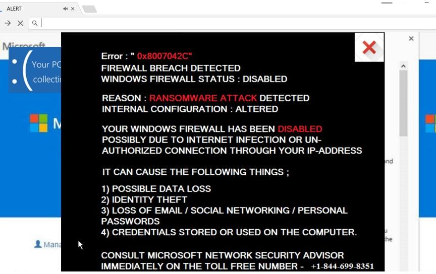 Windows Firewall Warning Alert Scam Removal