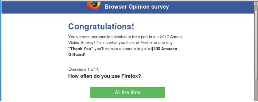 Rimuovere Mozilla Firefox Opinion Poll Fraud Survey