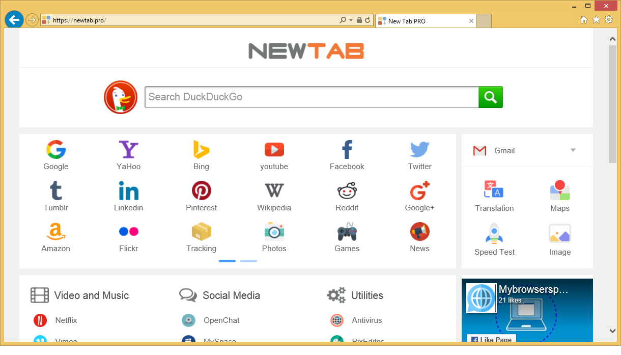 เอา Newtab.pro Redirect Virus