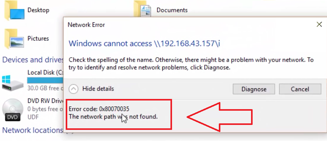 إزالة Error Code 0x80070035