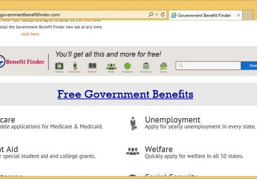 Rimuovere Government Benefit Finder Virus