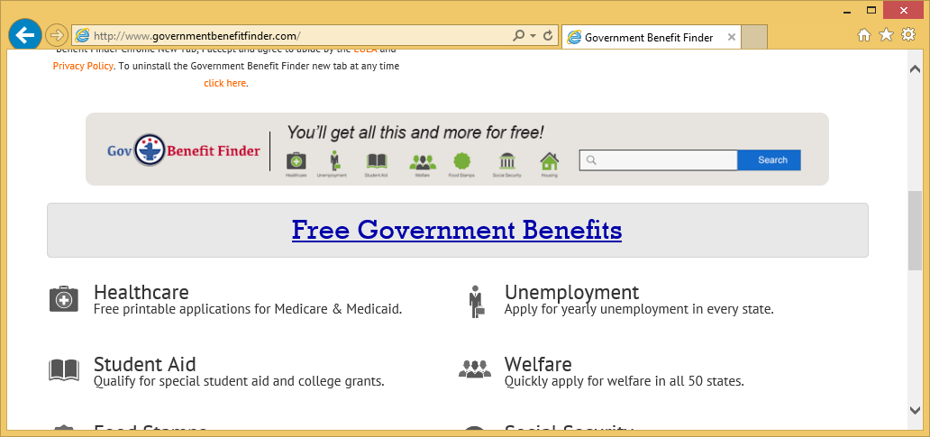 Удаление Government Benefit Finder Virus