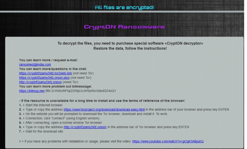 Rimuovere Ransomed@india ransomware