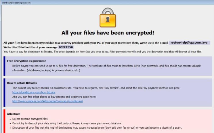 Κατάργηση Restorehelp@qq.com ransomware