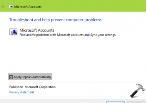 Reparere Microsoft Account