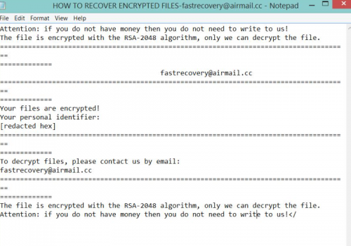 Fjerne Scarab-FastRecovery Ransomware