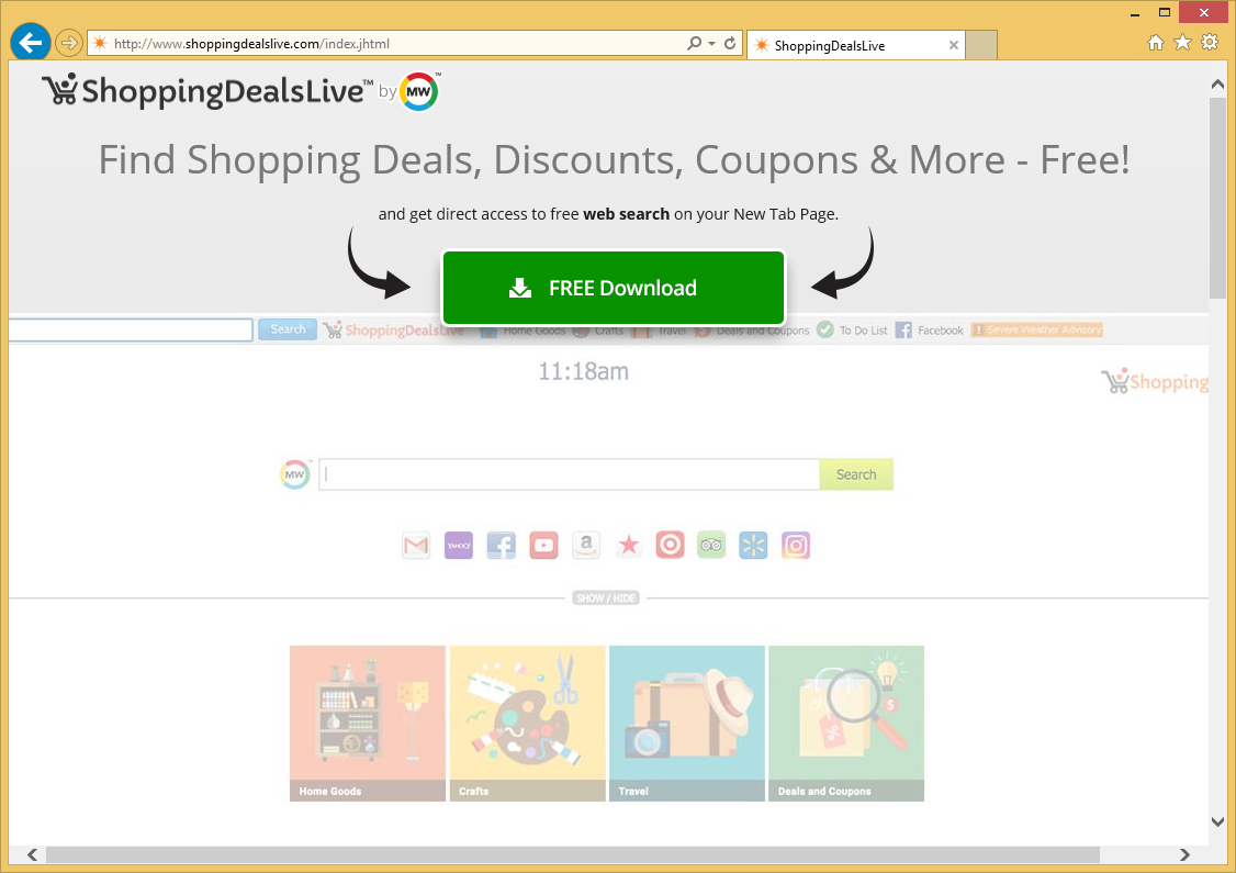 Удаление ShoppingDealsLive Toolbar