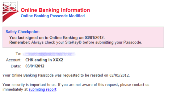 Bank Of America e-Mail-Virus