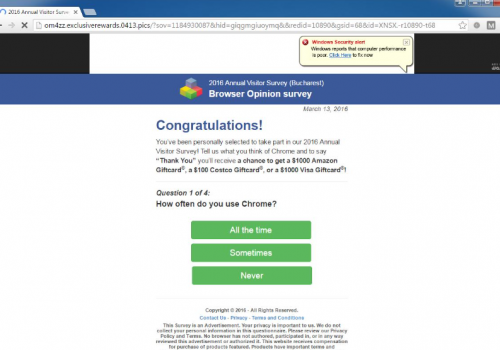 เอา Browser Opinion Survey POP-UP Scam