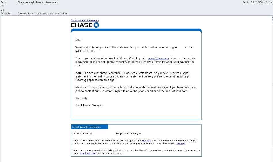 JPMorgan Chase E-mail Virus