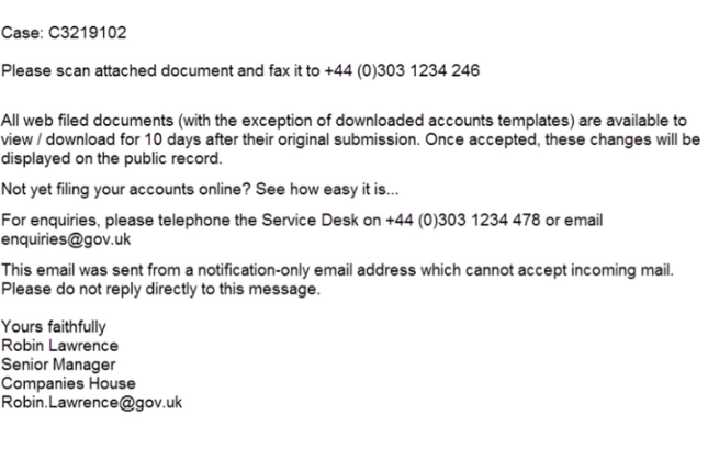 Companies House Email Virus