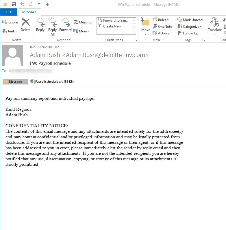 Odstrániť Deloitte Email Virus