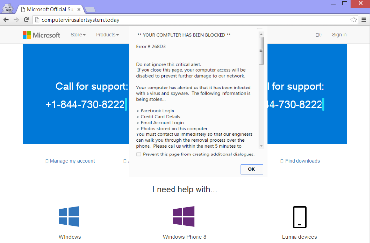 Suppression de Microsoft Help Desk Tech support scam