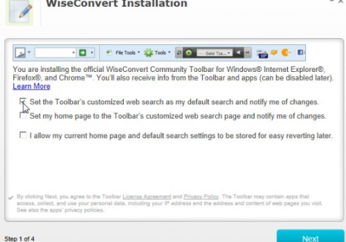 Remove WiseConvert Toolbar