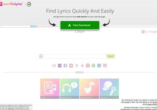 Odstranit LearnTheLyrics Toolbar