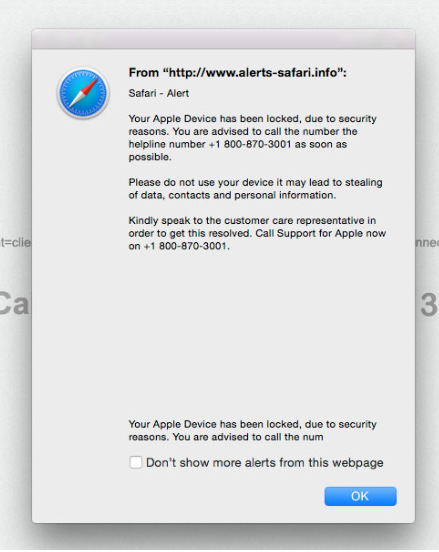 Távolítsa el a Apple Support Alert POP-UP Scam