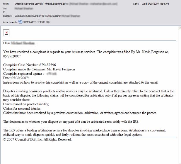 Court Order Email Virus