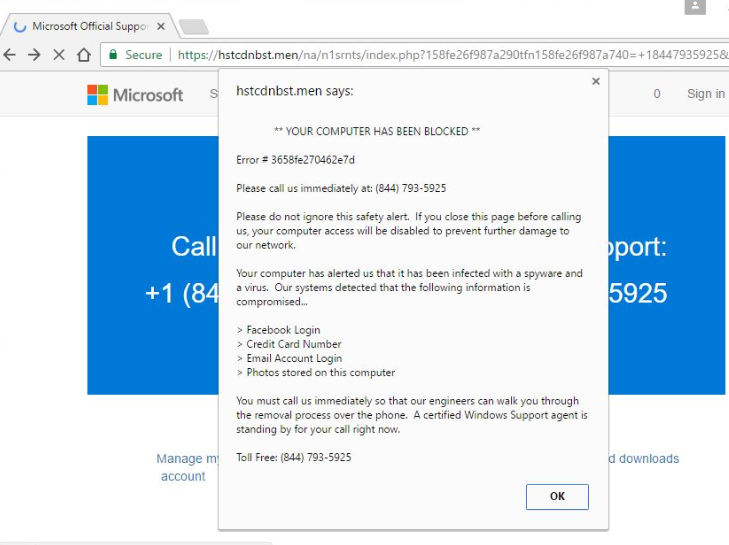 Rimuovere Microsoft Support POP-UP Scam