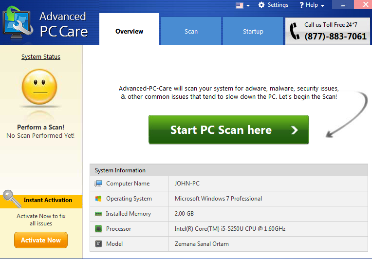 Fjerne PC Support Center Adware
