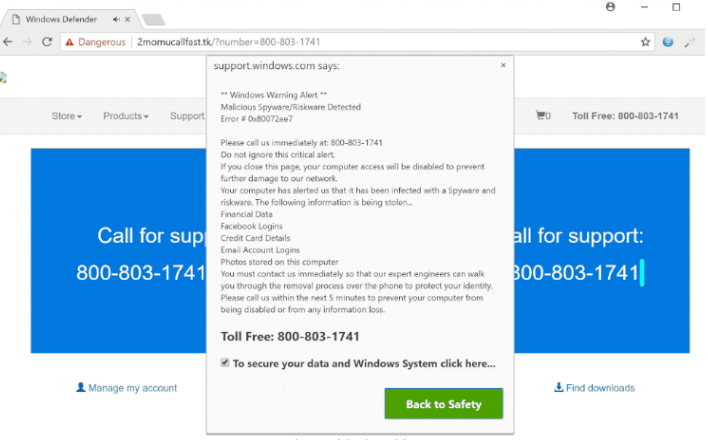 Windows Warning Alert Scam