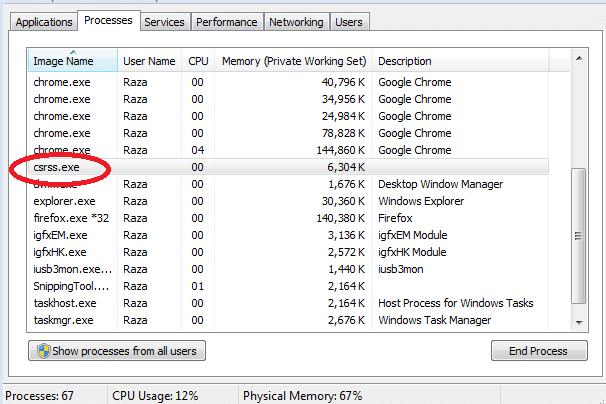 csrss.exe processes running
