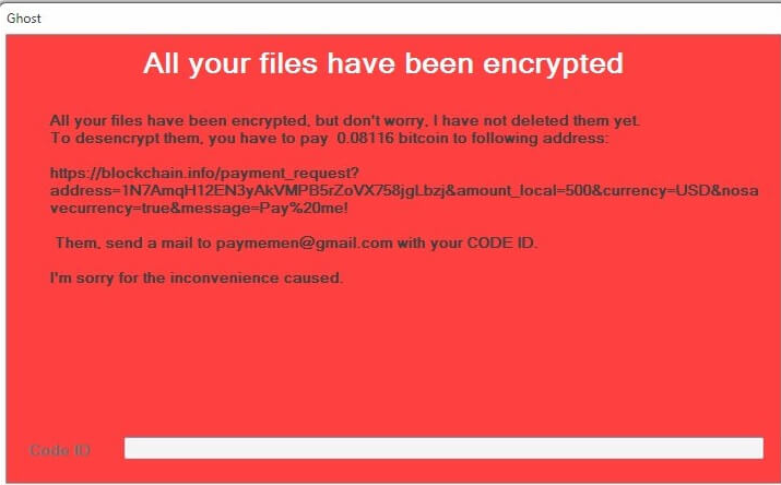 Fjern Ghost ransomware