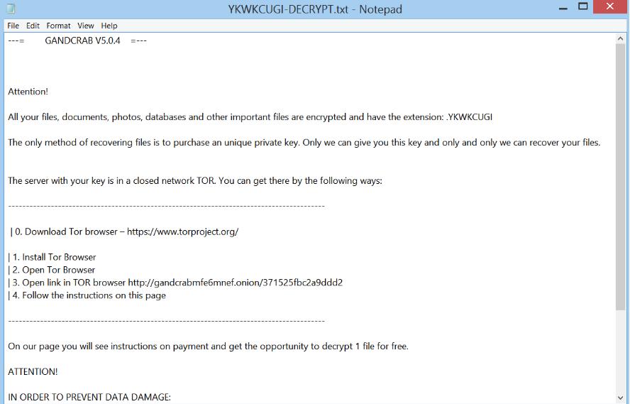 GANDCRAB 5 0 4 ransomware