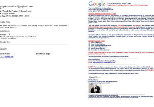 Remove Google Winner Email Scam