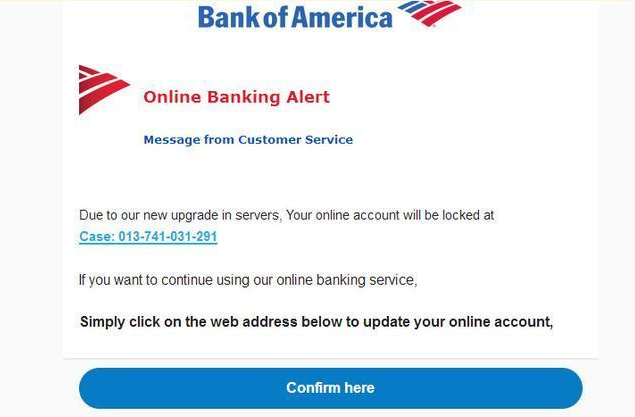 Confirm Bank Account Email Virus